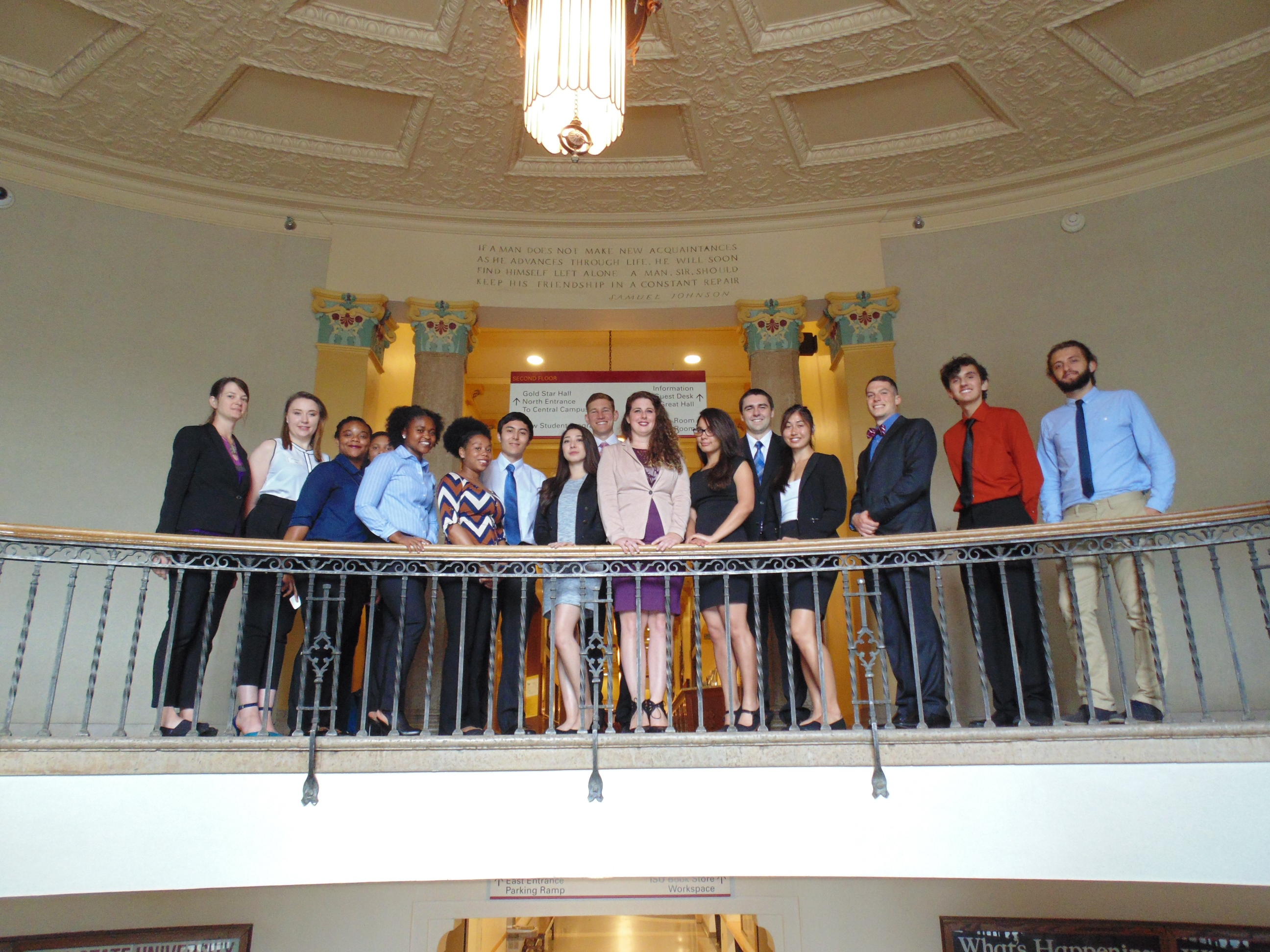 Students gather in the Iowa State University Memorial Union before the culminating poster session.